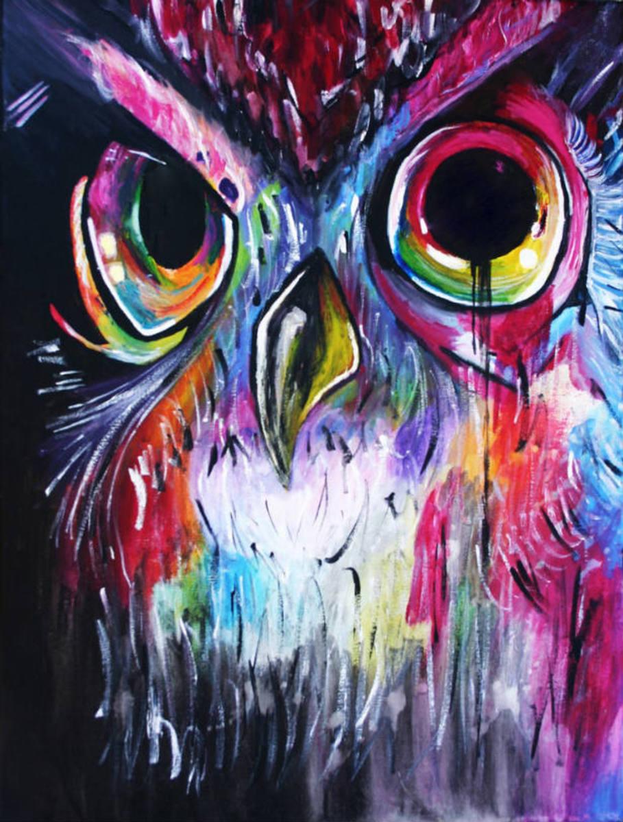 Colorful owl art