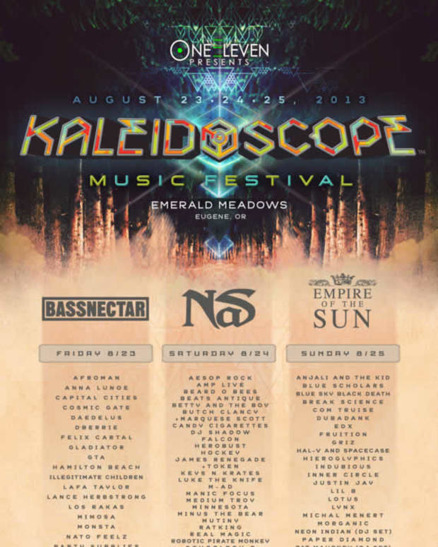 EDM Culture: Kaleidscope Music Festival August 23-25th In Eugene, Oregon; Bassnectar, Nas and Empire Of The Sun Headlining