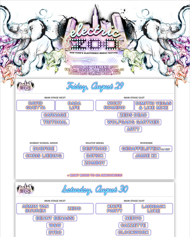 Electric Zoo NY 2014 Phase 1 Artist Lineup