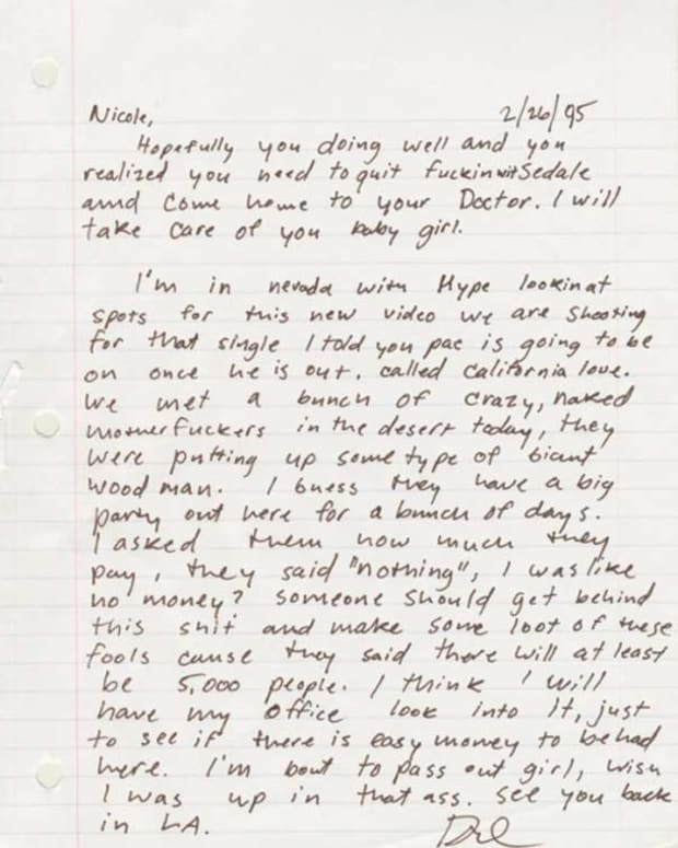 Dr. Dre Describes Burning Man In A Handwritten Letter From 1995