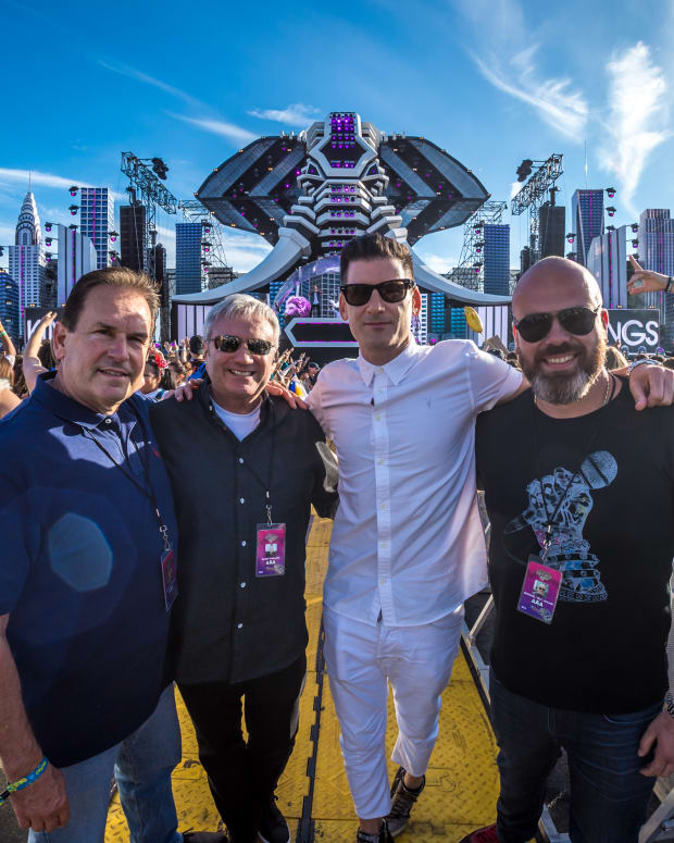 "Pictured (L to R): LiveStyle's Chuck Ciongoli, Randy Phillips​, Gary Richards & LiveStyle/Made Event's Michael Julian ​at ""Electric Zoo"