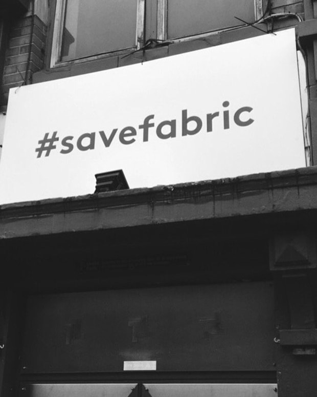 #SaveFabric sign above Fabric London