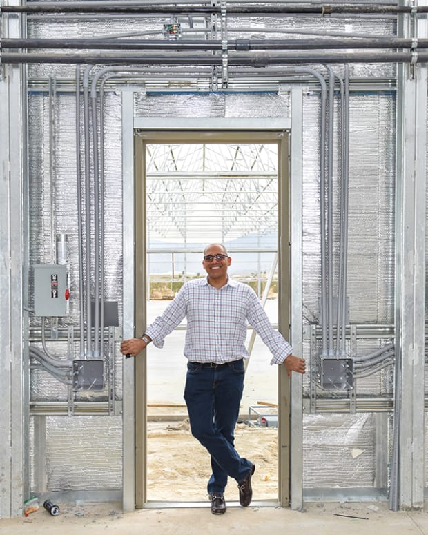 Canndescent CEO Adrian Sedlin during the construction of their grow operation in California