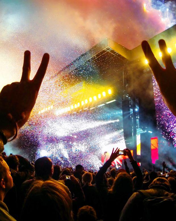 concert hands crowd gopro