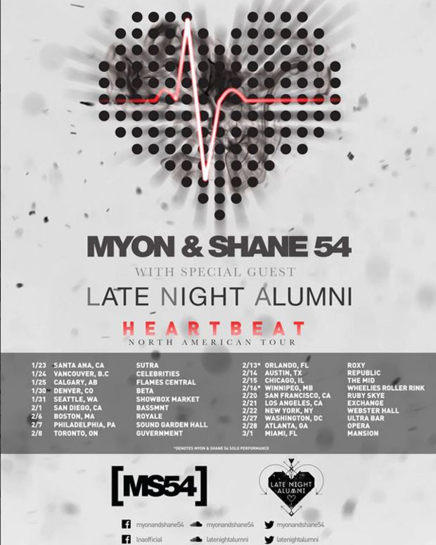 "Myon & Shane 54 ""Heartbeat"" North American Tour With Late Night Alumni - EDM News"