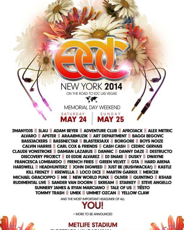 EDC New York Announces 2014 Memorial Day Lineup