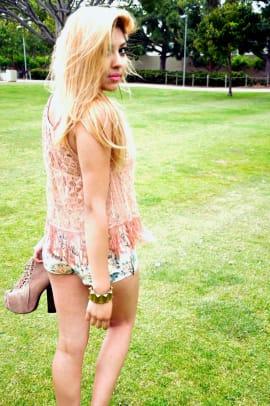 Floral Shorts: Heritage | Top: Forever 21 | Necklace: Vintage | Bracelet: Vintage | Cross Earing: Flea Market | Shoes: Lolita Jeffrey Campbell