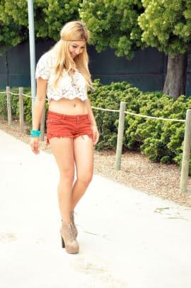 Camel Cutoff Shorts: Brandy Melville | Crochet Bikini Top: Forever 21 | Crochet Crop Top: Forever 21 | Headband: DIY | Feathered Earing: Sammi Ryan | Shoes: Lolita Jeffrey Campbell