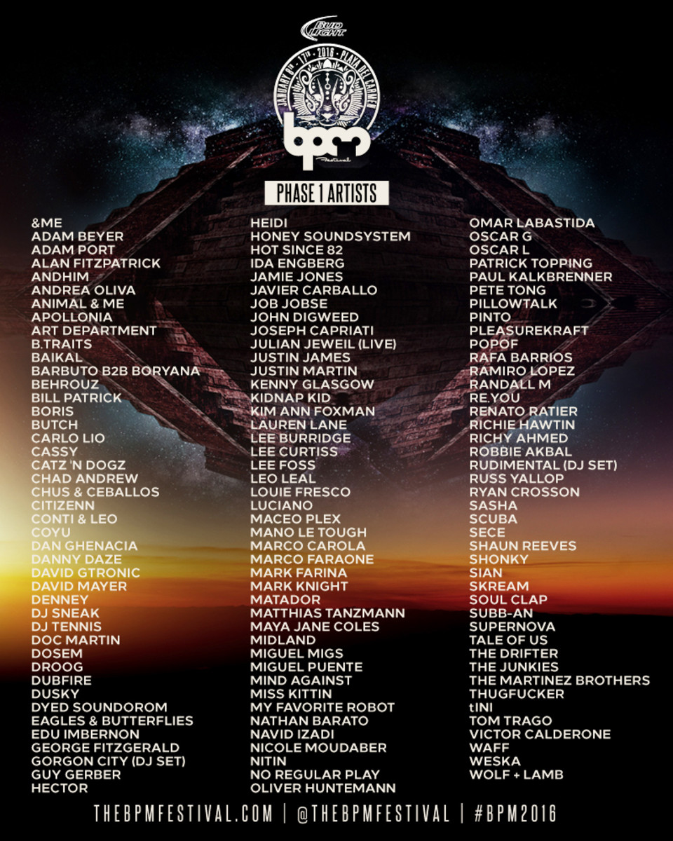 BPM 2016 phase 1 lineup