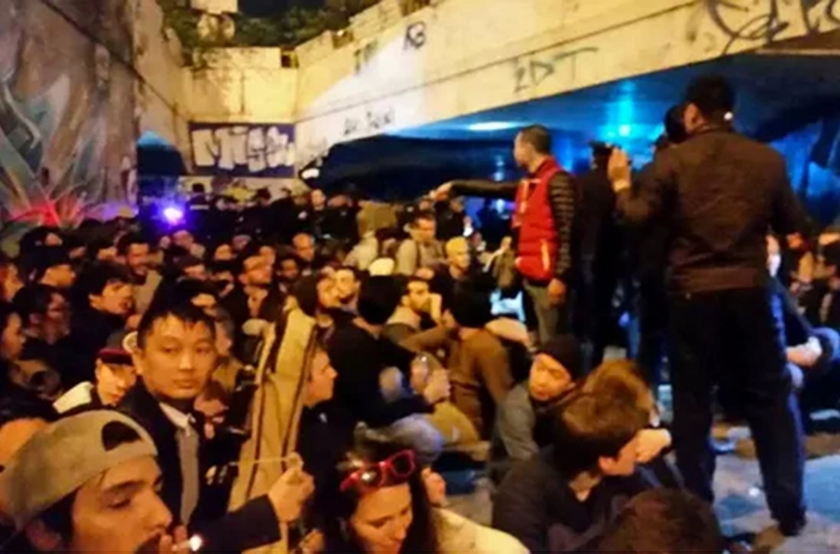 Photo from social media reportedly showing the crowd that was detained after the party