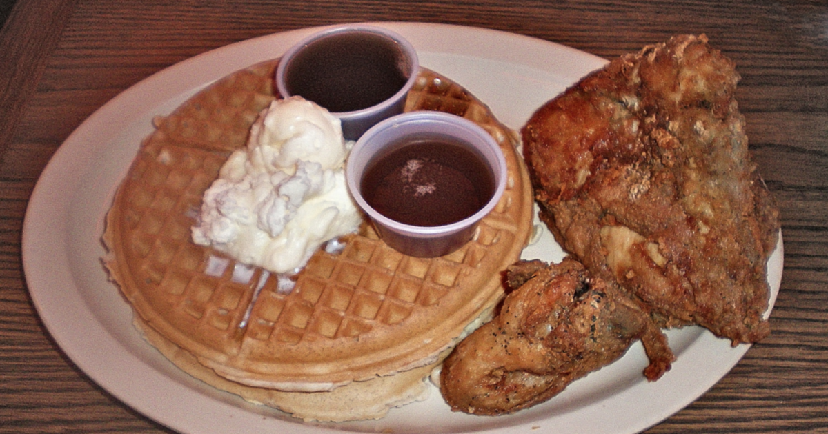 Chicken and Waffles from Roscoe's Chicken & Waffles (photo via Wikimedia)