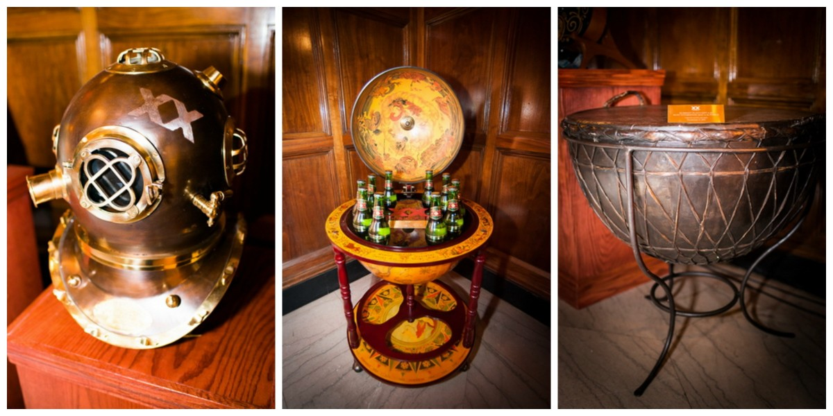 a vintage diving mask, world globe w/hidden bar filled with Dos Equis & the Impact Plan gifted giant drum (photos provided by Dos Equis)