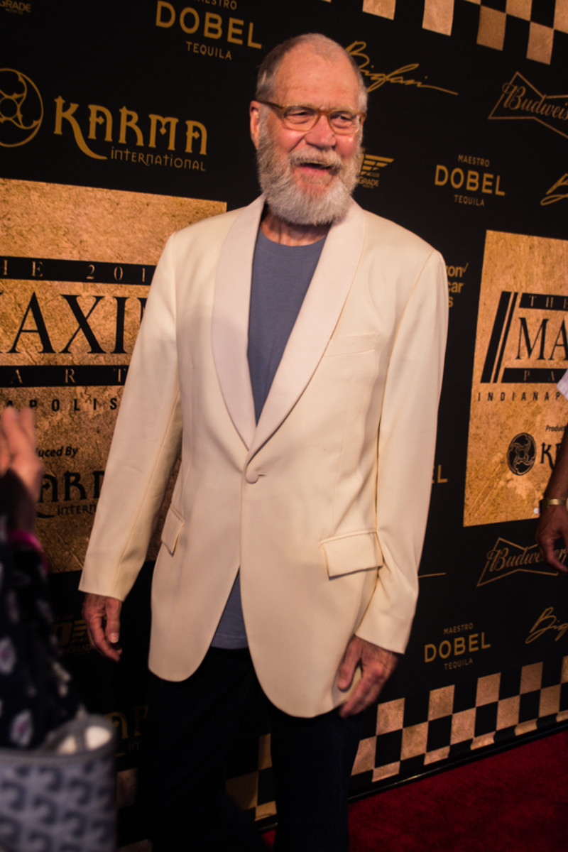 Indianapolis native and Late Night legend David Letterman – still sporting the zero-f*cks retirement beard – attends the Maxim party featuring Tiesto. Photo: Jeremiah Williams