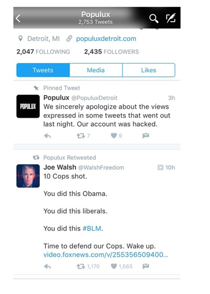 The retweet of former Congressman Joe Walsh's tweet in reference to the police shootings in Dallas, TX last night, as well as Populux response.