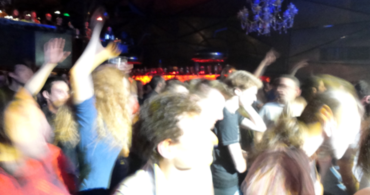 Crowd at Orbital Wonky show at Club Nouveau in Paris, 2012