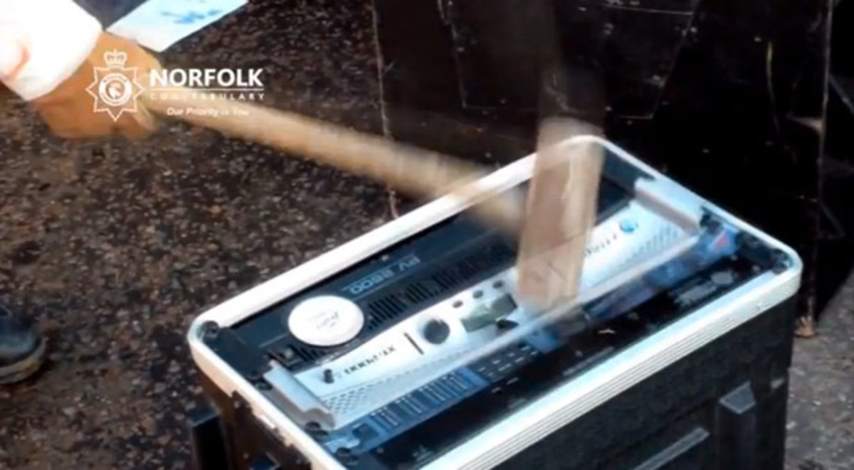 Watch: Douche Bag Cops Destroying DJ Equipment Seized at a Rave