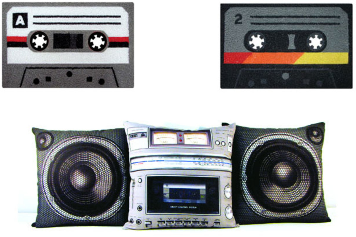 Want: Casette Tape Doormat and Boombox Pillow
