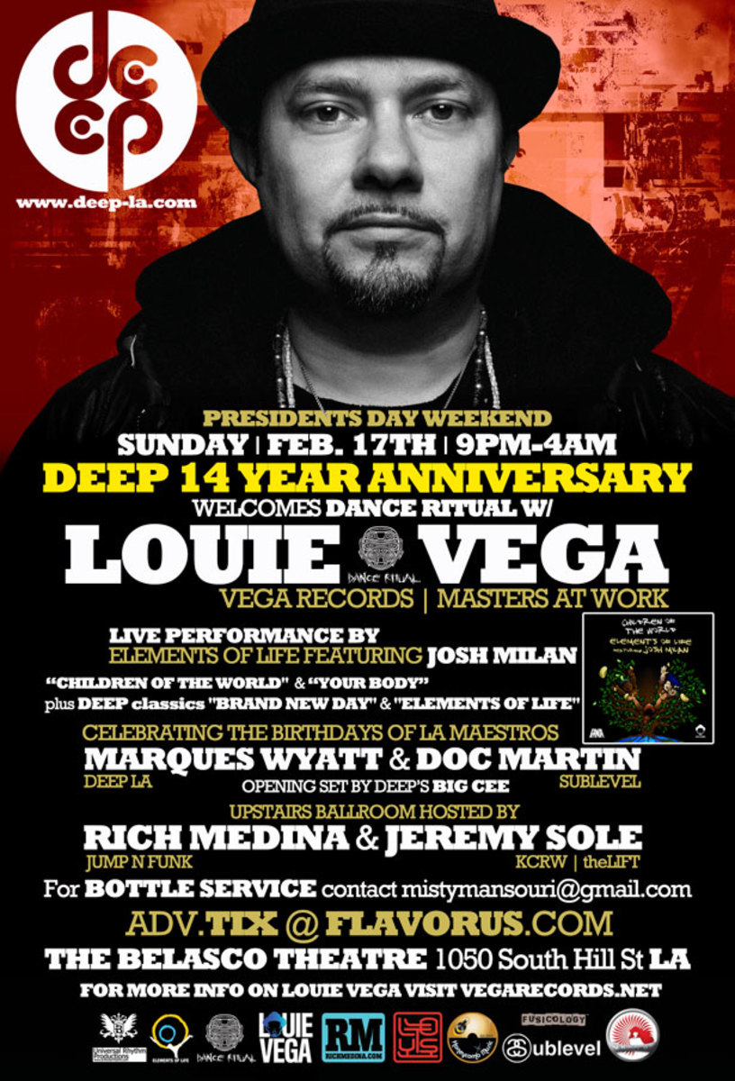 Ticket Giveaway: Louie Vega at Deep 14 Year Anniversary