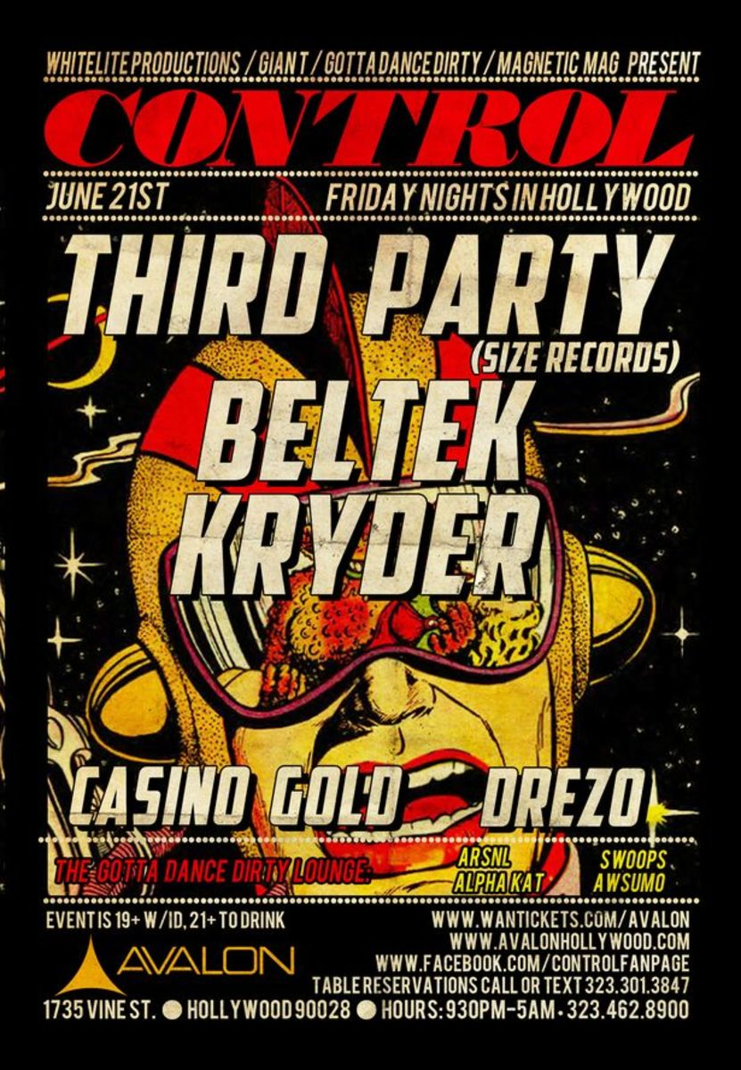 EDM Event: Control At Avalon With Beltek, Casino Gold, Third Party, Kryder, Drezo