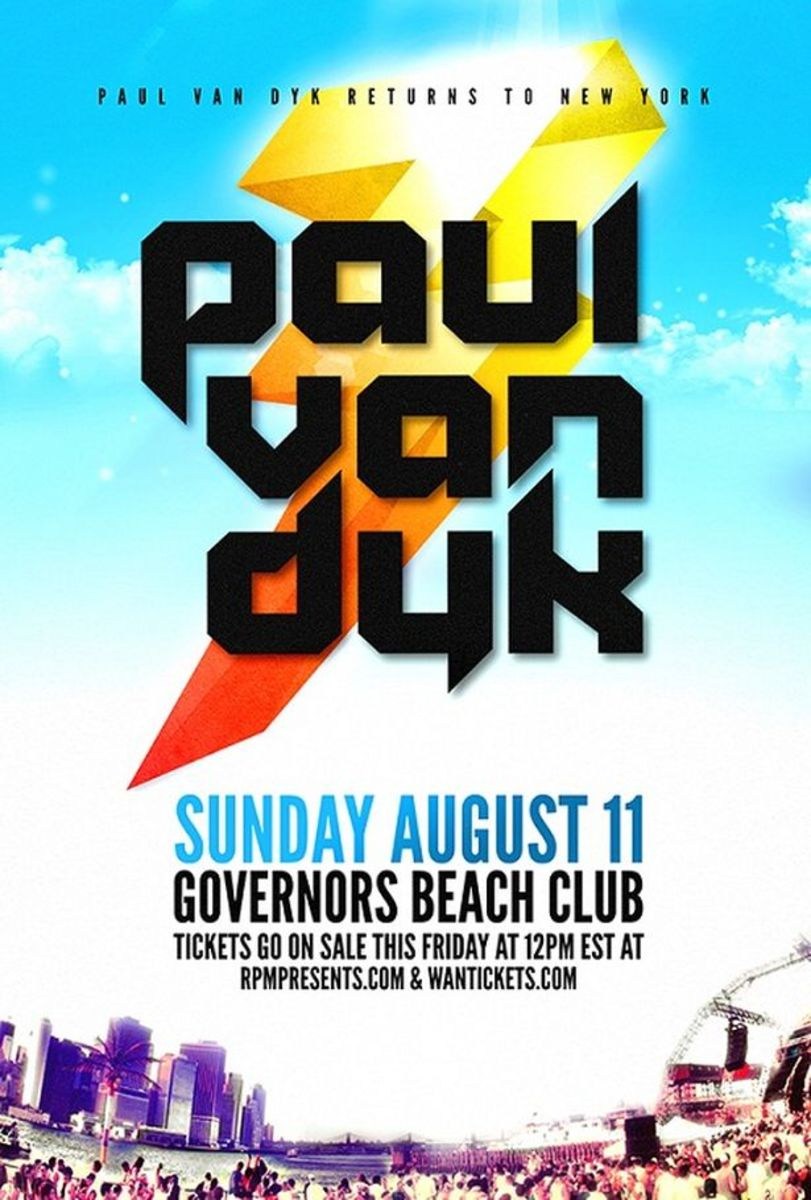 EDM Event: Paul Van Dyk Sunday August 11th At Governors Beach Club In New York