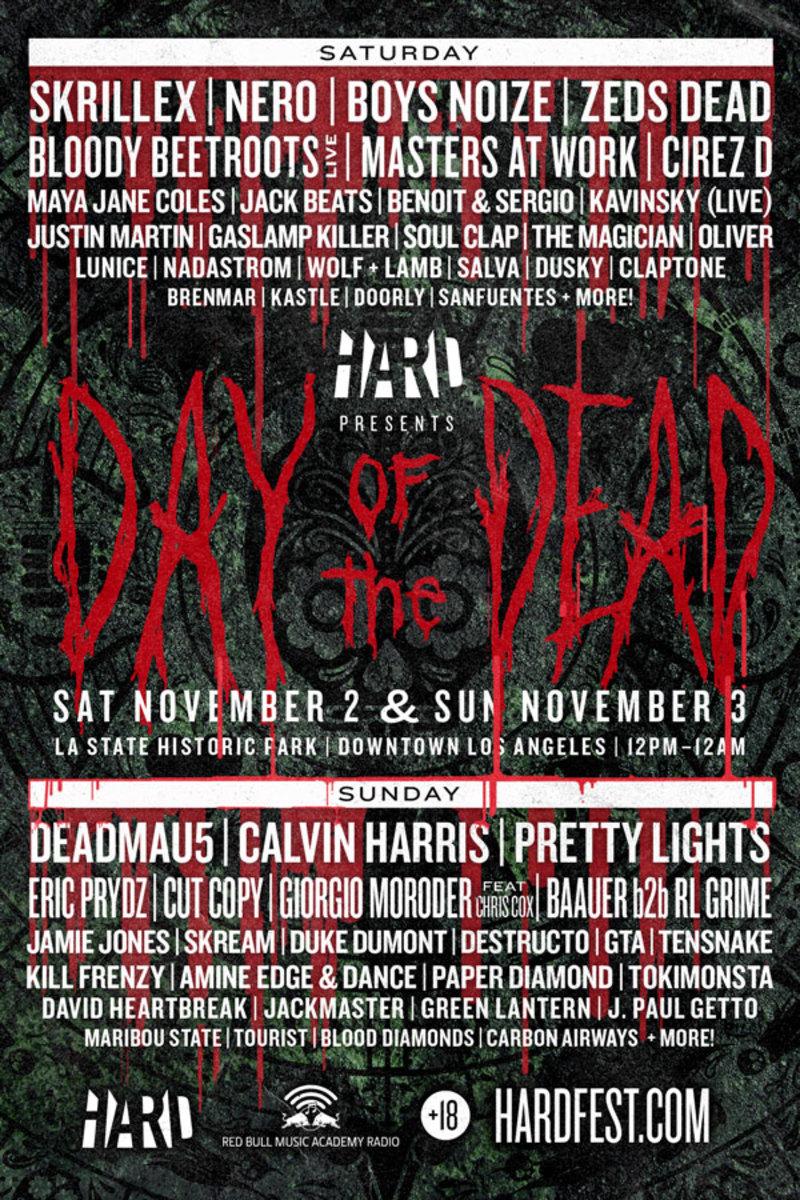 EDM Culture: Hard Announces Day Of The Dead Line Up Featuring Skrillex, Boys Noize, Deadmau5, Calvin Harris And Giorgio Moroder