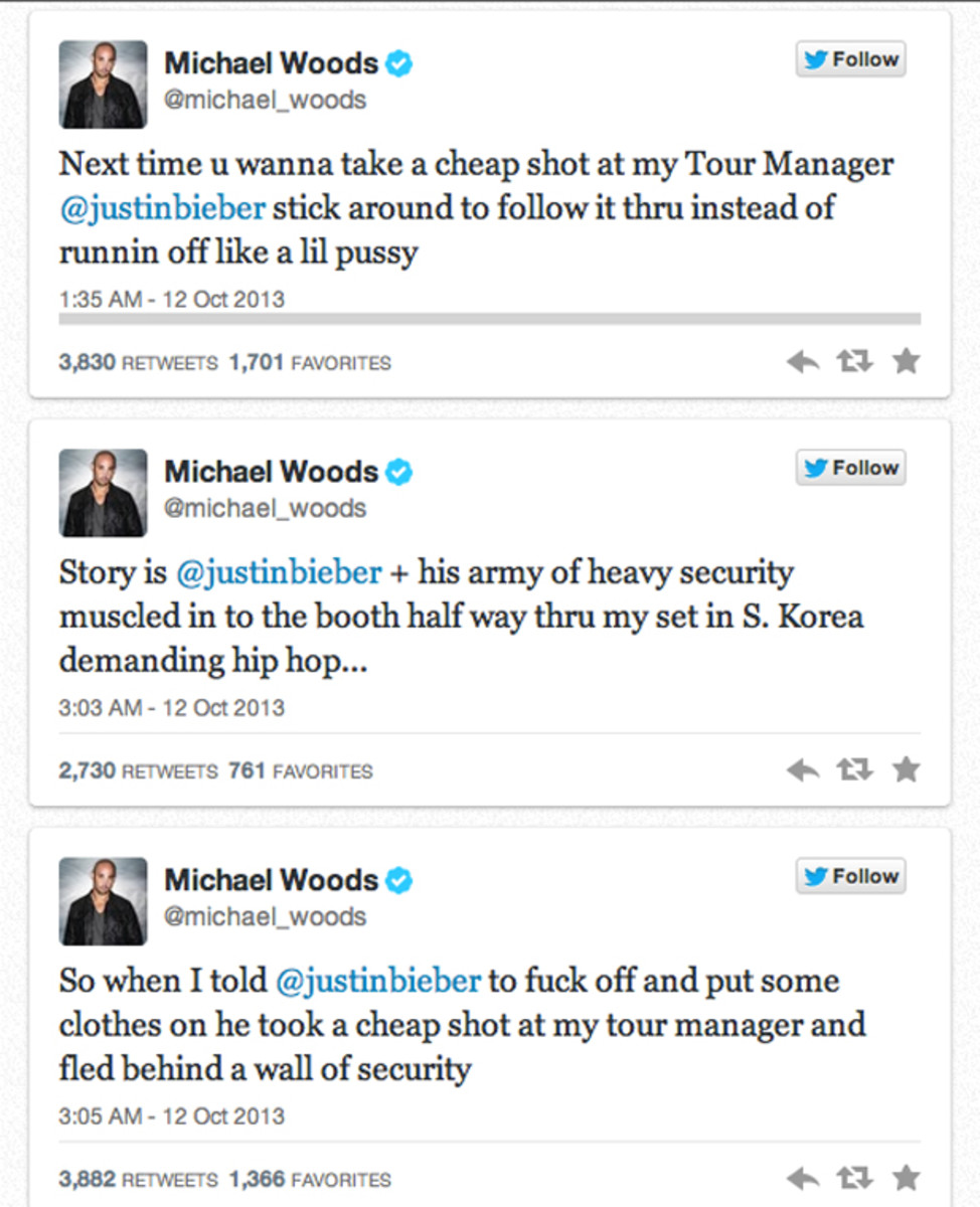 EDM News: Justin Bieber Punches Michael Woods' Tour Manager, Then DJs With His Shirt Off