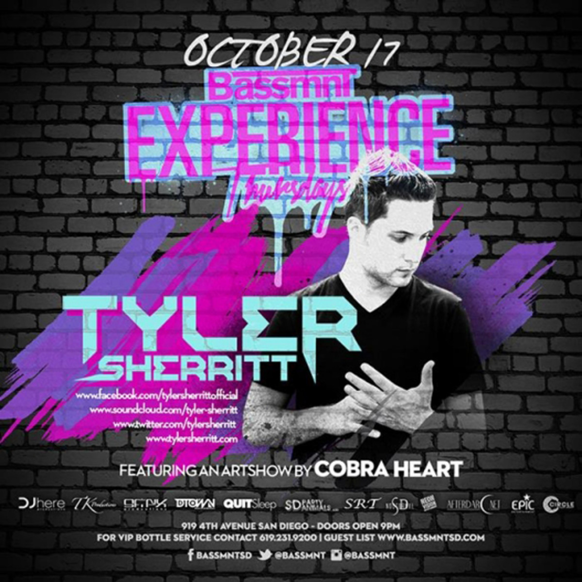 Spotlight SD Series : Bassmnt Welcomes Rising Star Tyler Sherritt; Hosts Local Art Exhibition by Cobra Heart