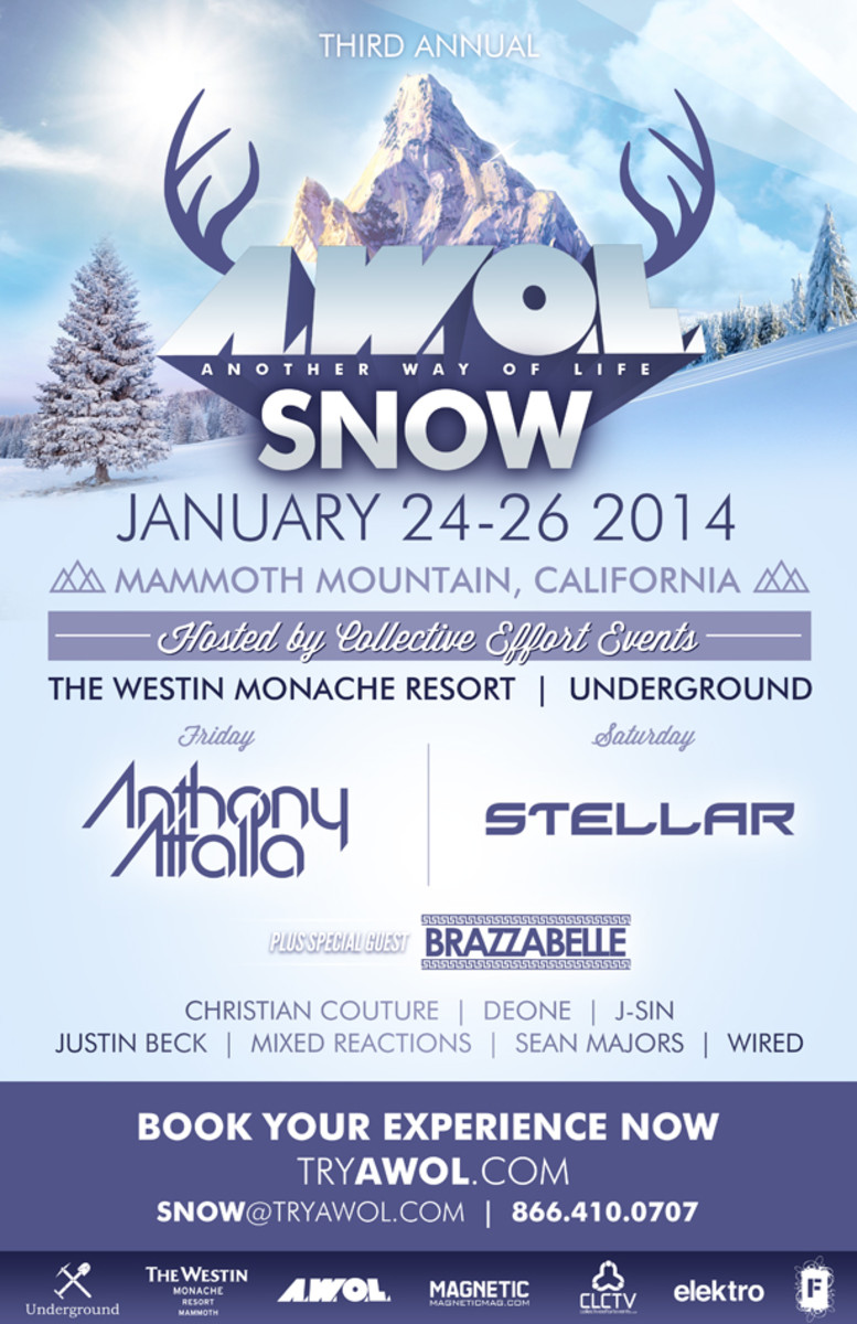 Anthony Attalla, Stellar & Brazzabelle Confirmed At AWOL Festival In Mammoth Lakes Jan 24 - 26
