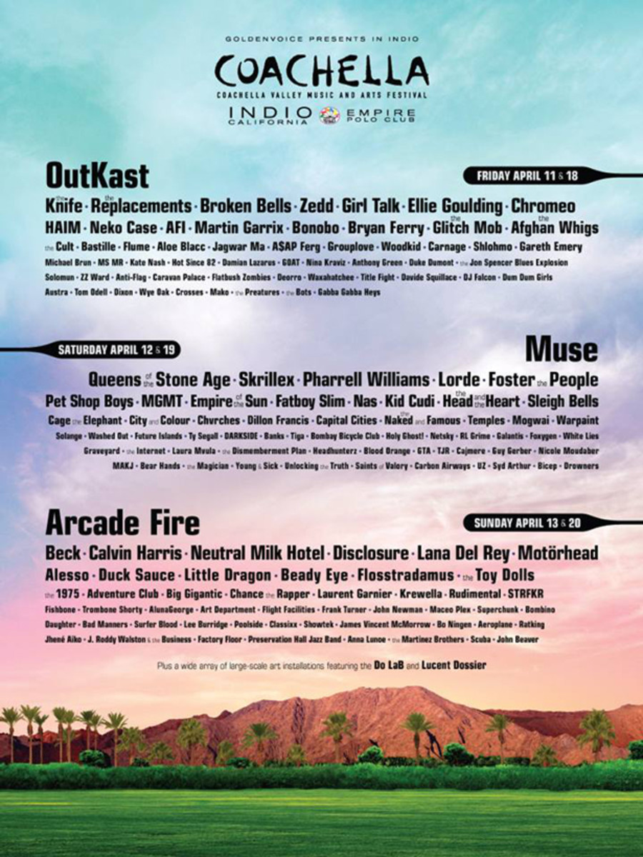Coachella Announces 2014 Lineup- OutKast, Muse And Arcade Fire to Headline- EDM News