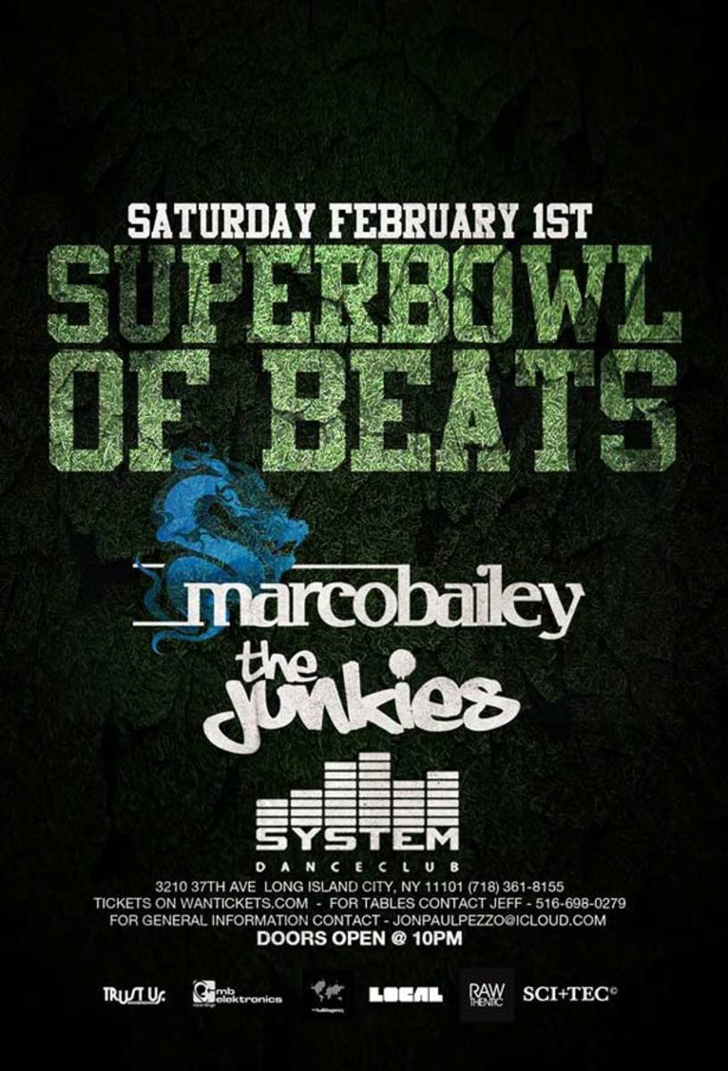 Super Bowl Of Beats With Marco Bailey Feb 1st In Long Island City
