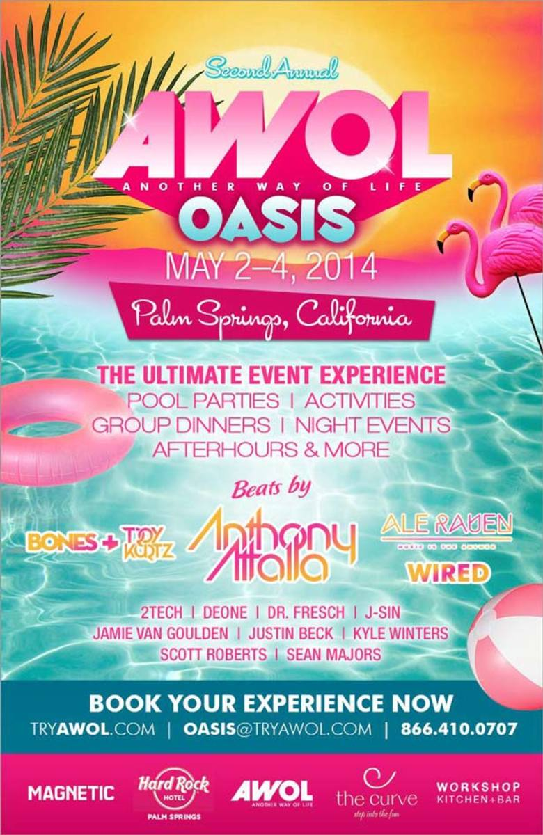 EDM Event Spotlight: A.W.O.L. Announces 2014 Lineup for Oasis Event In Palm Springs