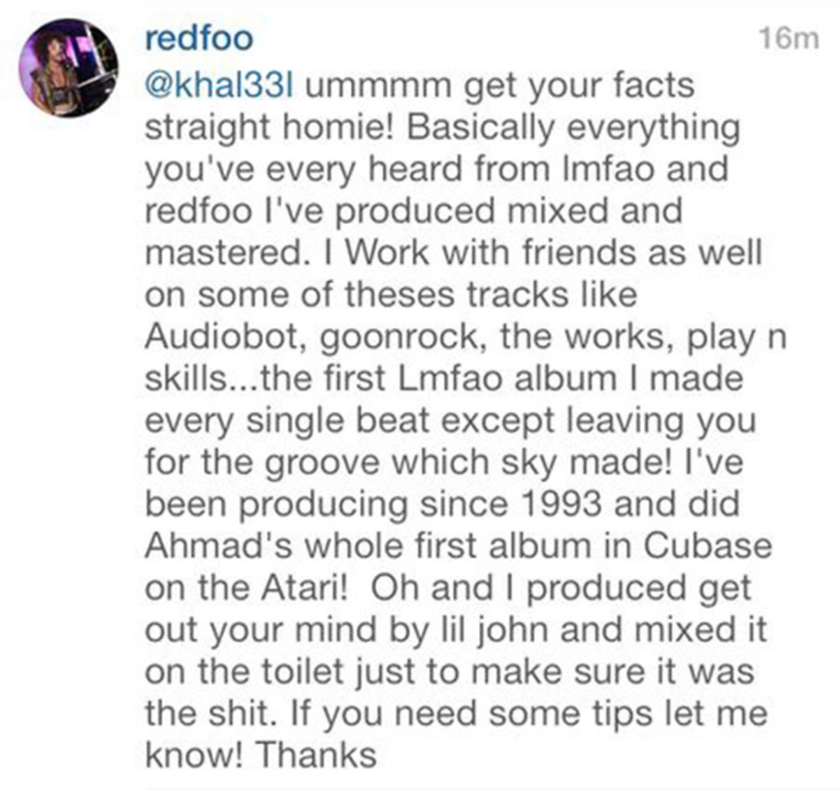 Redfoo Responds To Ghost Producing Accusations By Troll