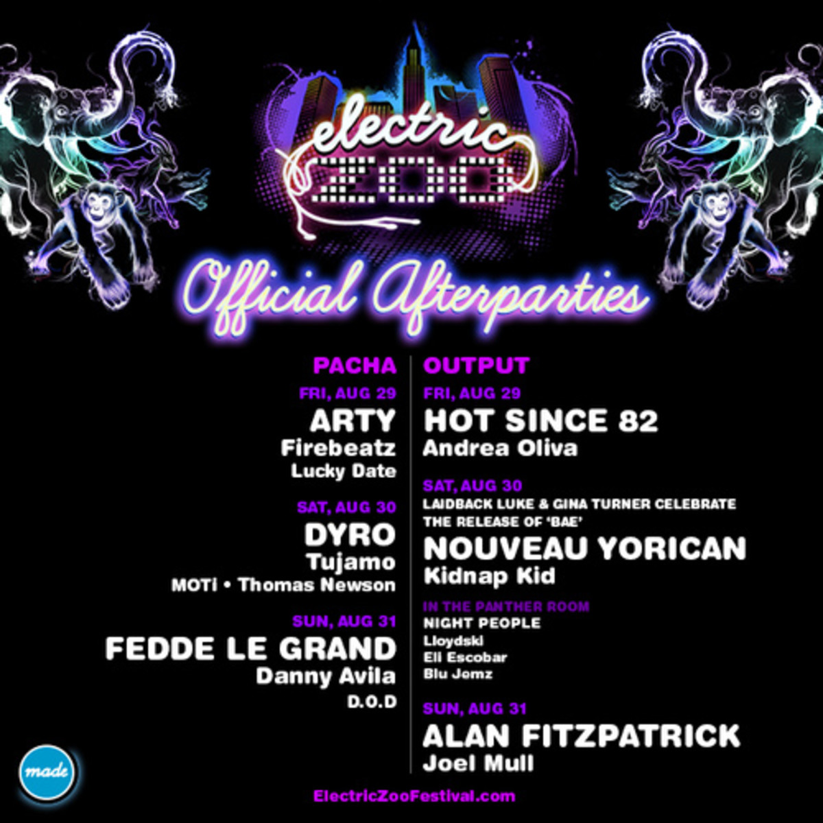electric zoo, made event, after parties, new york