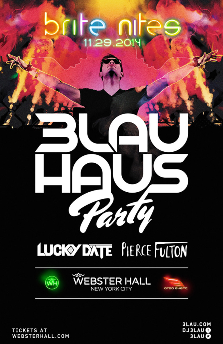 3LAU's House Party is coming to New York City this weekend.  Supporting sets from Pierce Fulton and Lucky Date.