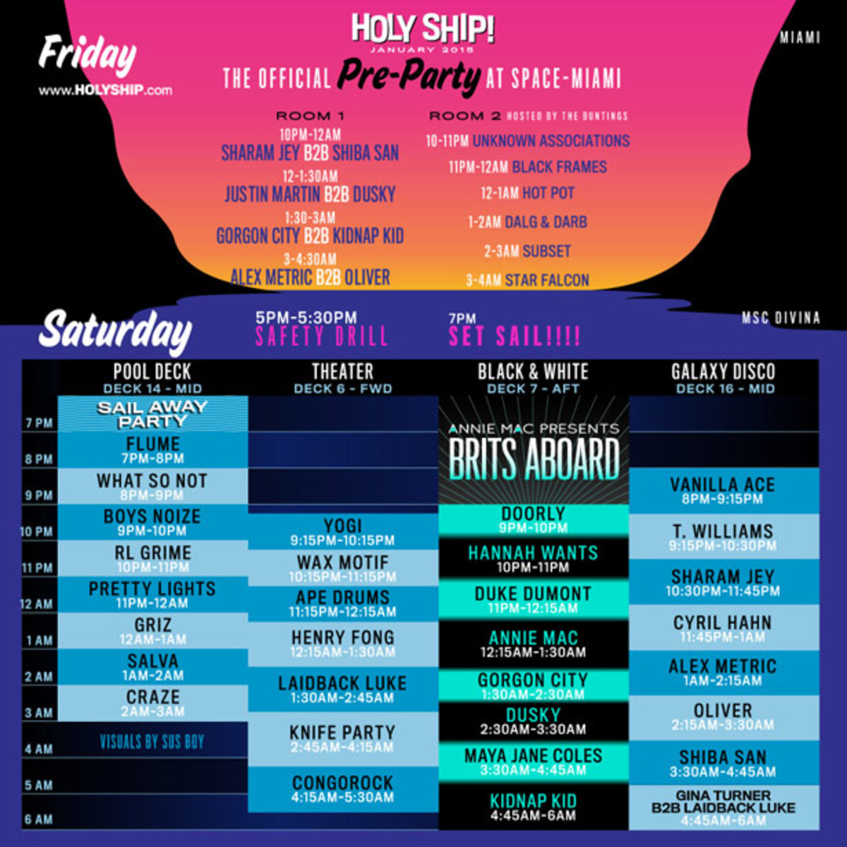 HARD's Holy Ship Lineup 2015 Announcement