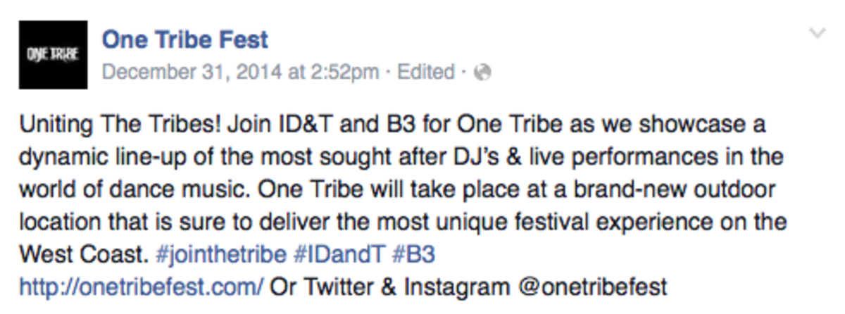 Brand New 'One Tribe Festival' From ID&T To Grace SoCal This Fall