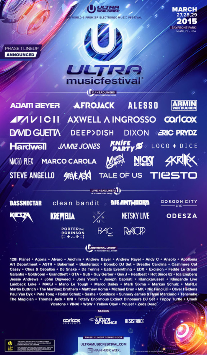 Ultra Phase One Lineup Released