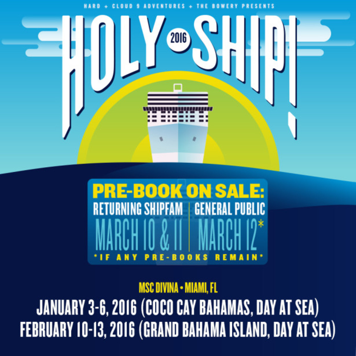 Holy Ship! Pre-Booking For 2016