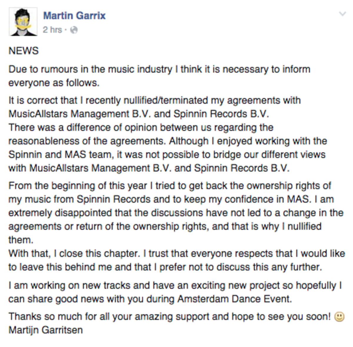Garrix statement