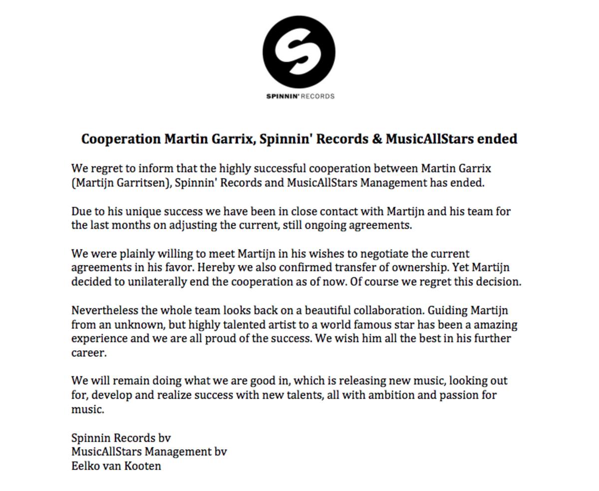 Spinnin' Records statement on martin garrix