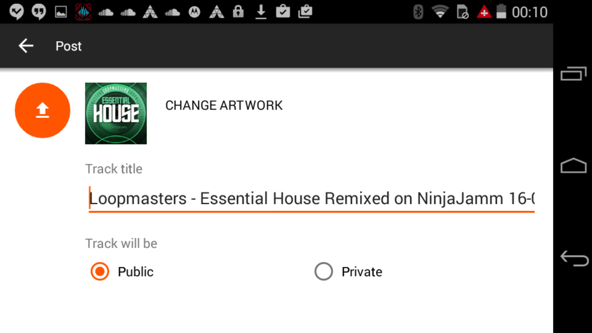 Ninja Jamm Android 16-Upload to Soundcloud