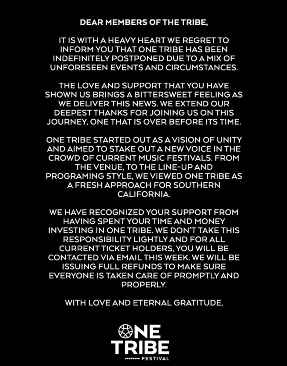 One Tribe statement
