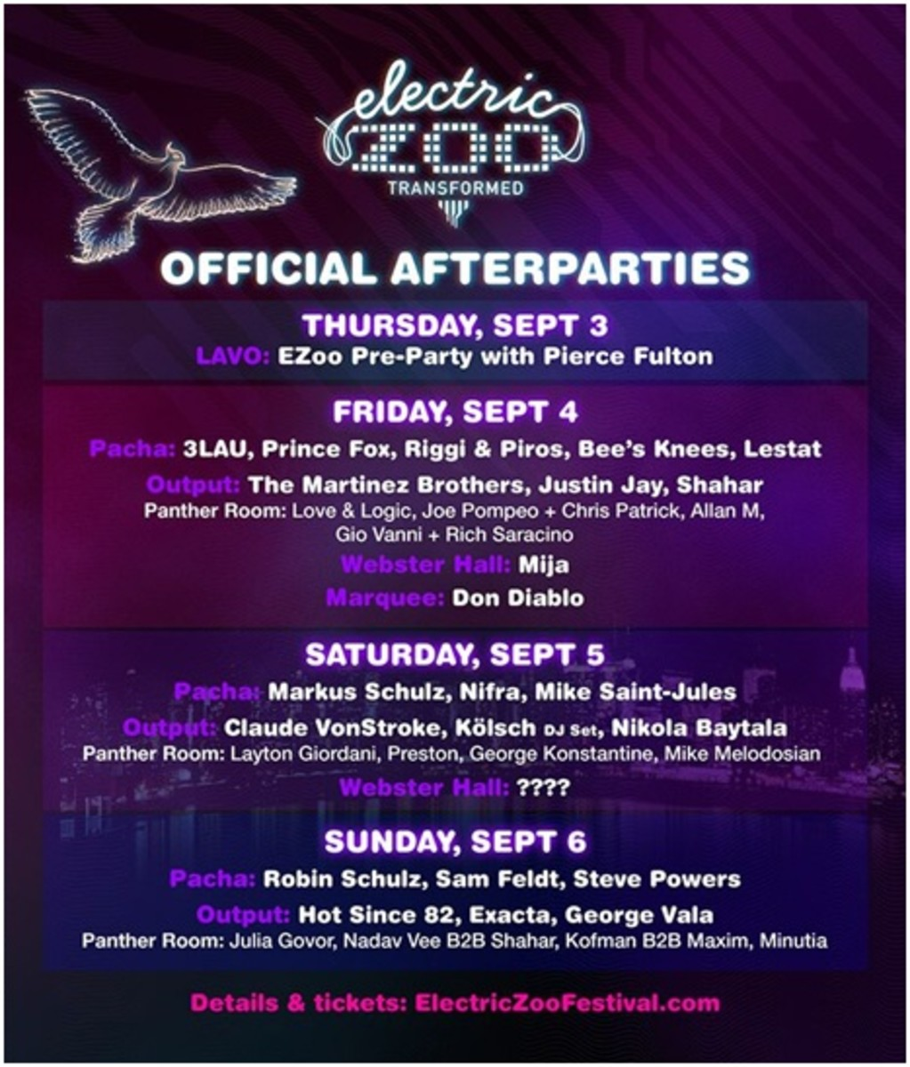 Electric Zoo Afterparties