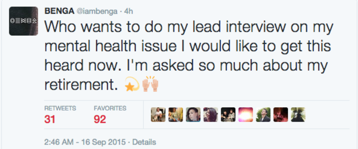 Benga Tweet Mental Health 1