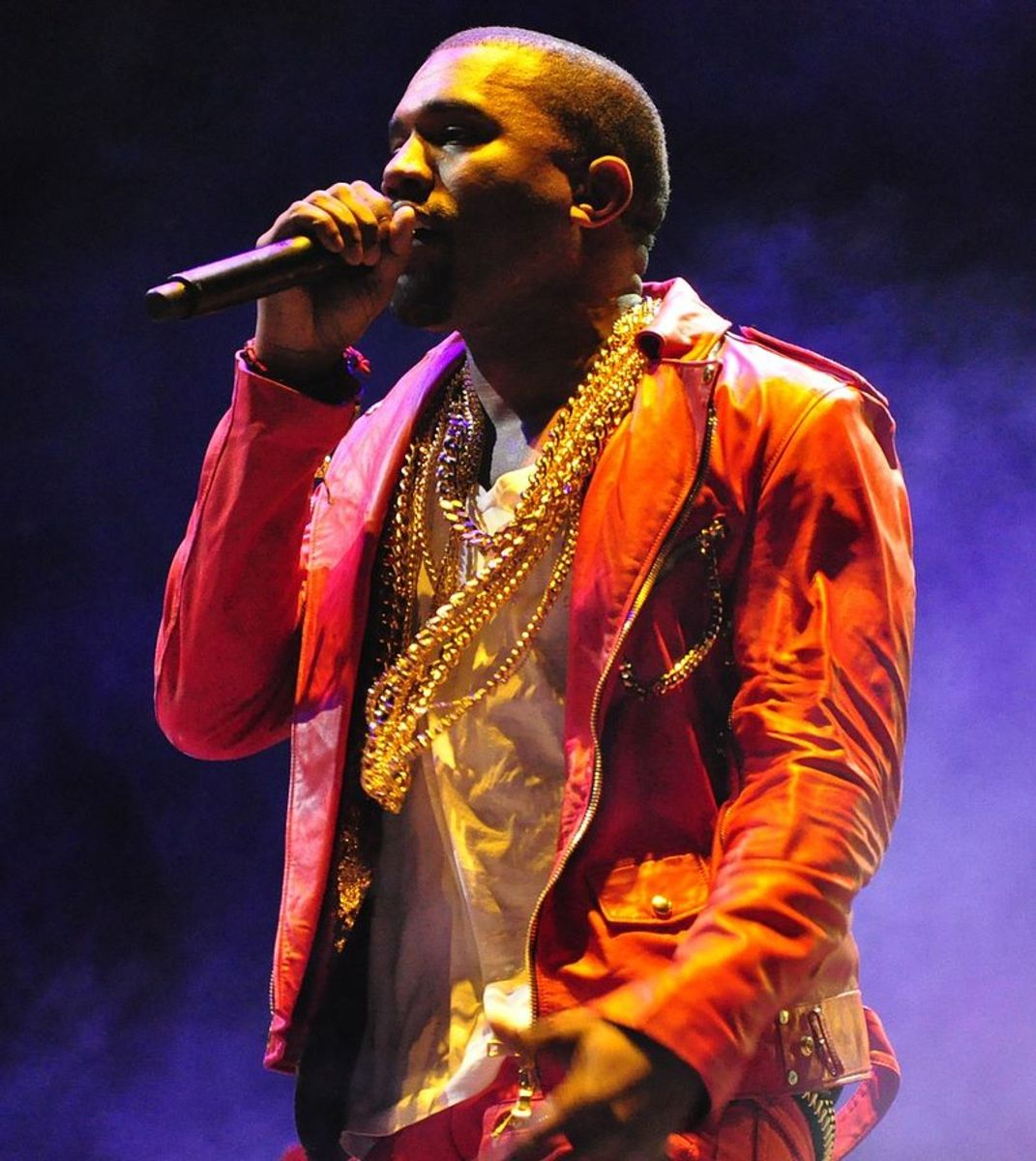 Kanye West performing at Lollapalooza on April 3, 2011 in Santiago, Chile.