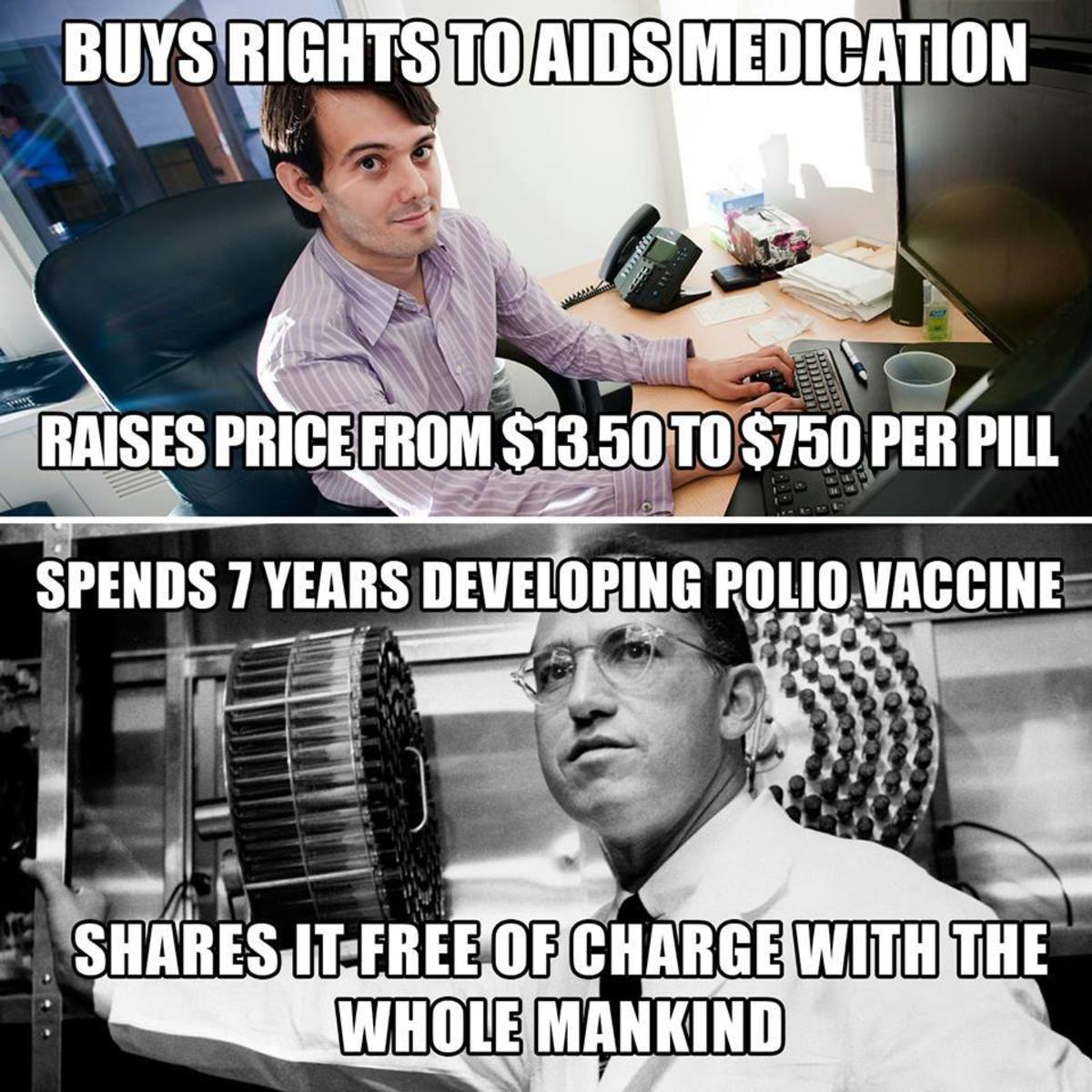 AIDs price hike vs Polio vaccine meme