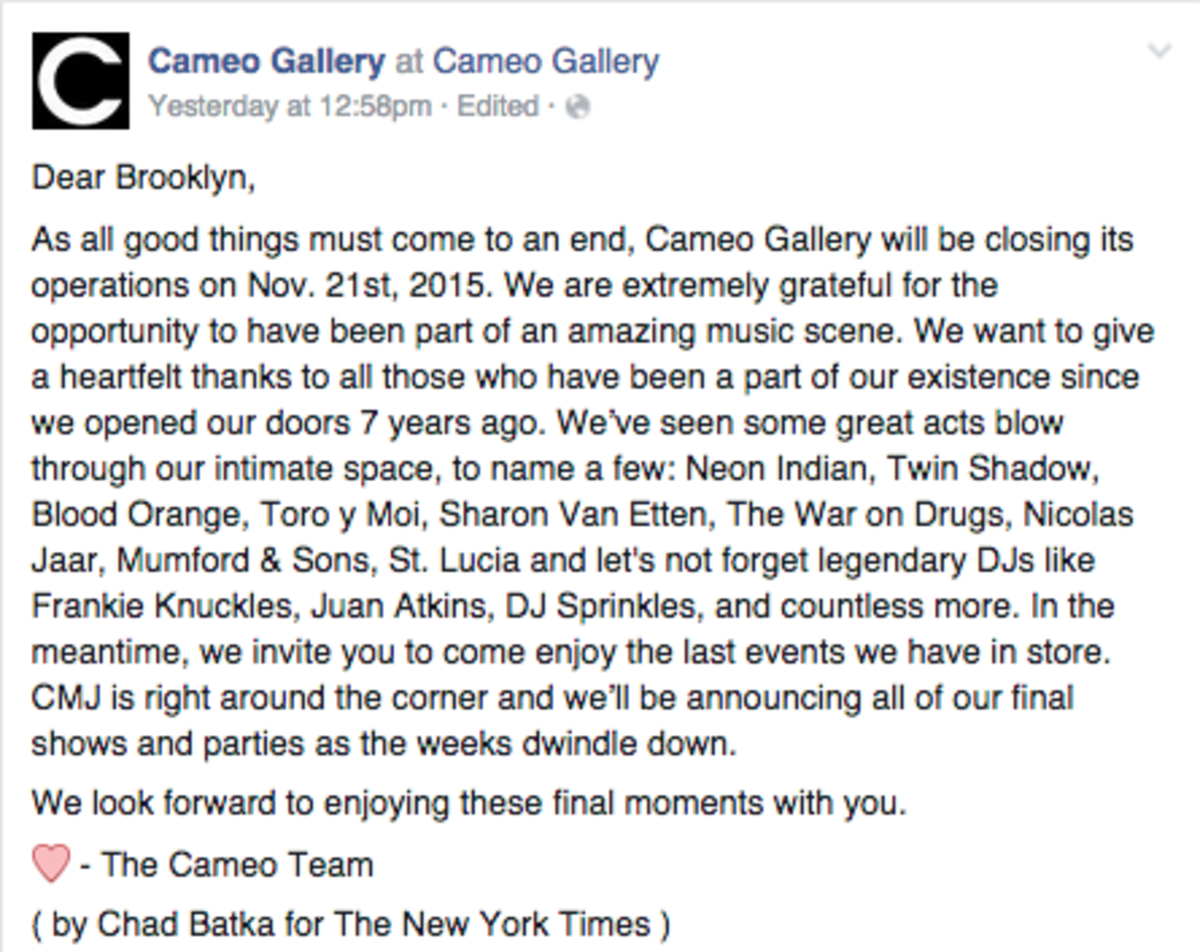 Cameo Gallery Closing