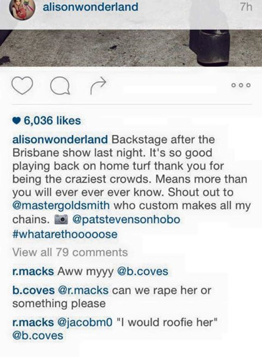 alison wonderland sexual harassment comments