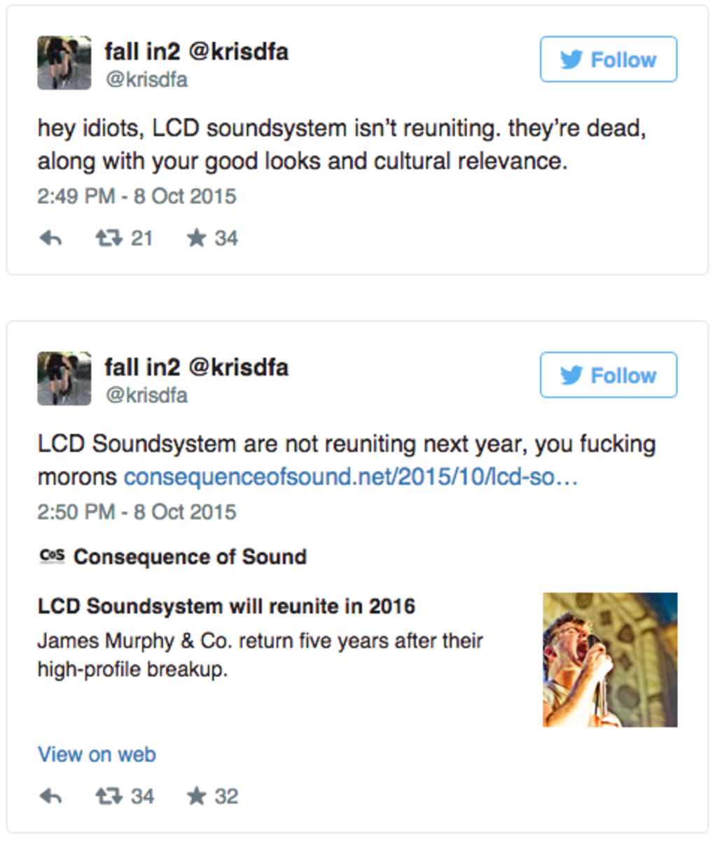 LCD Soundsystem manager tweets