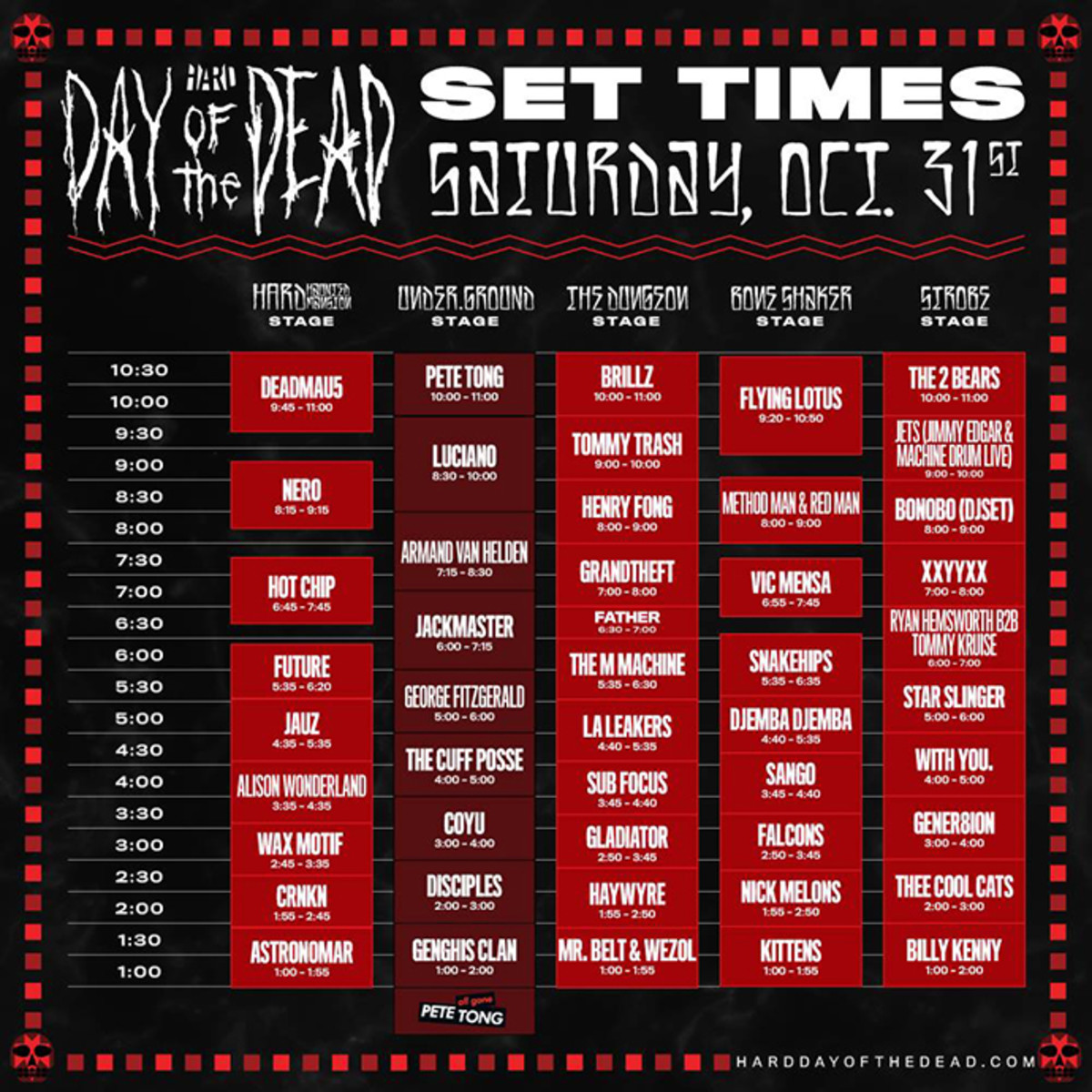 Hard Day of The Dead Set Times